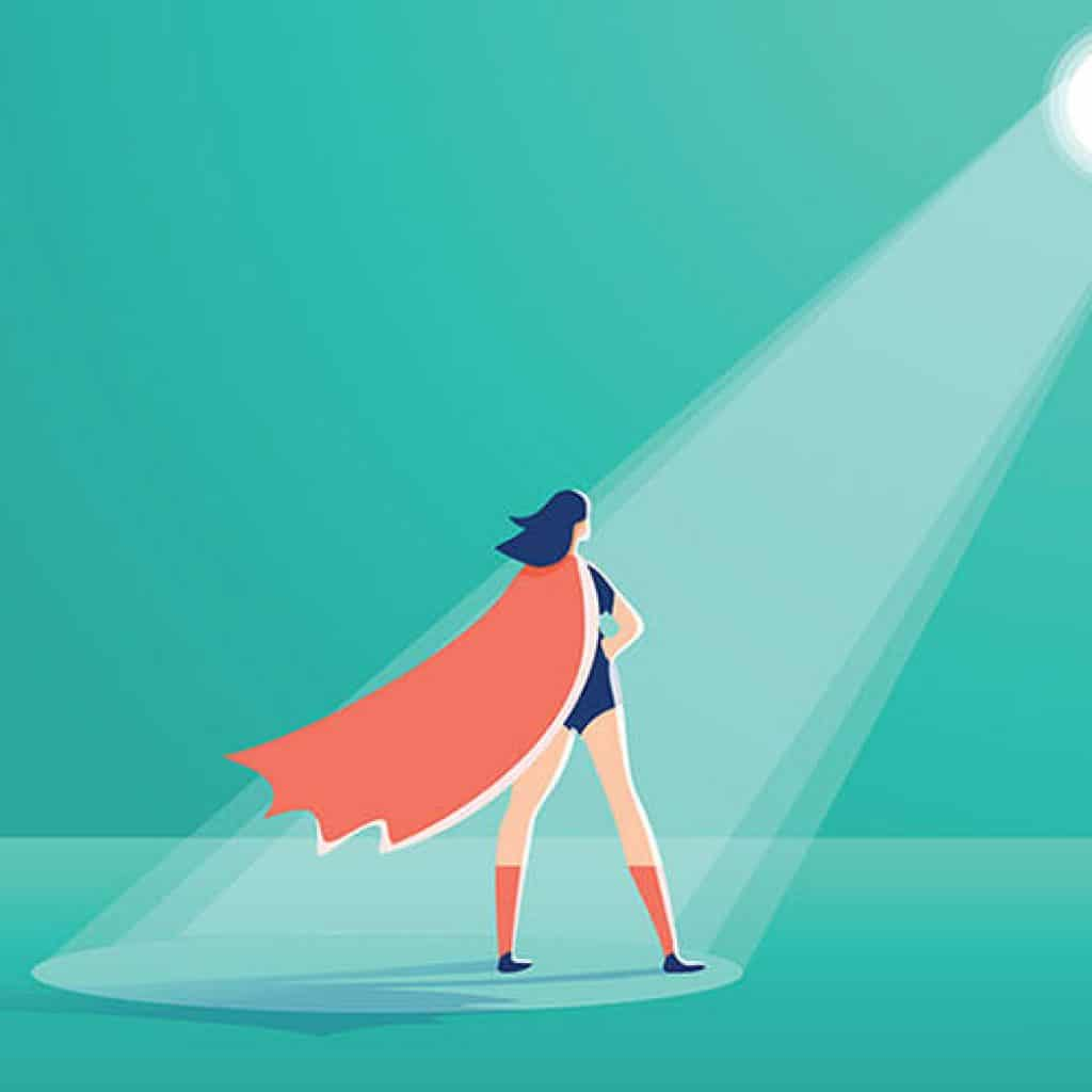 woman superhero reaching ideal clients